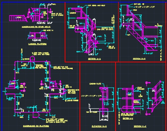 Handrail Layout Details - Steel Angles - CAD Files, DWG files, Plans and  Details