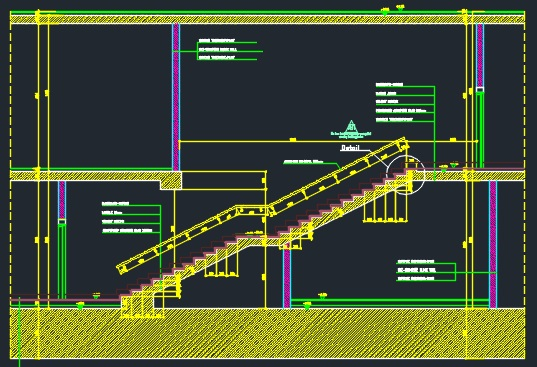 Stair Plan, Section And Detail-Marble over concrete - CAD Files, DWG files,  Plans and Details
