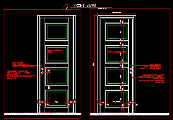 Entrance Single Sliding Door Plan Section And Elevation
