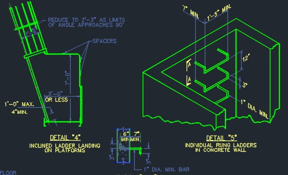 Roof Access Ladder Details Structural Cad Files Dwg