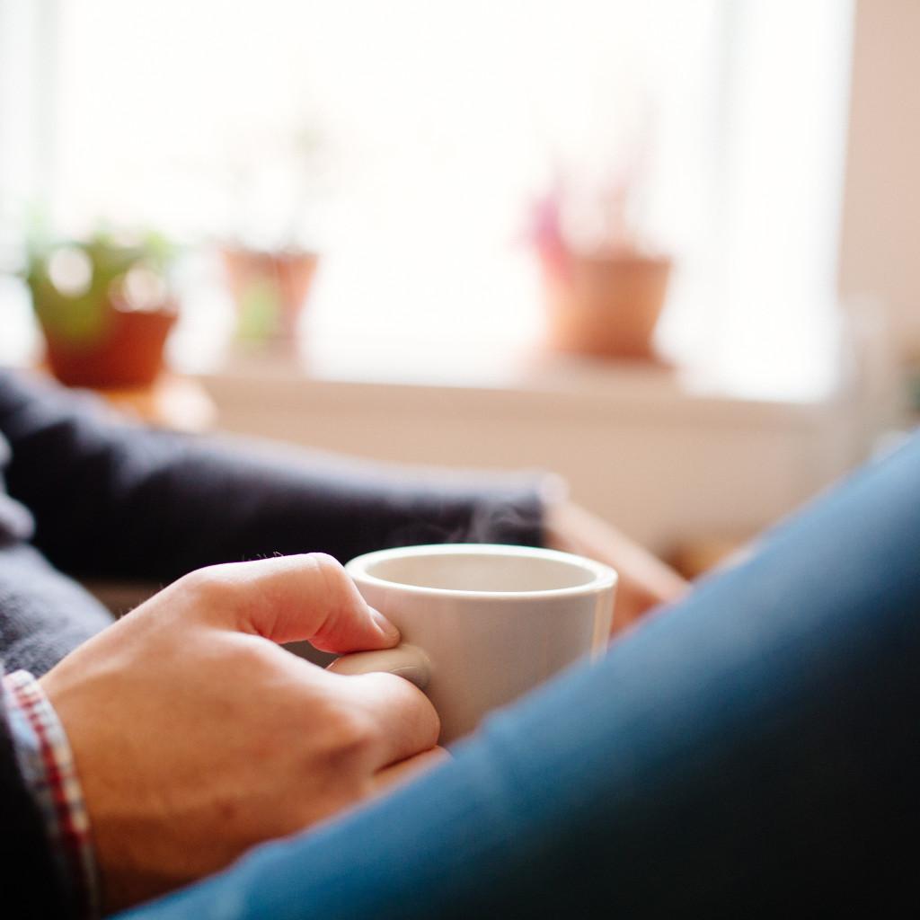people coffee tea break chat relax plants window light