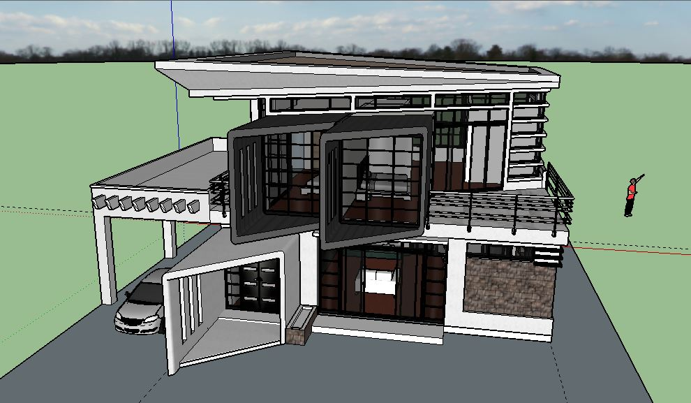 2 storey modern zen house design sketchup model cad for Modern zen house designs