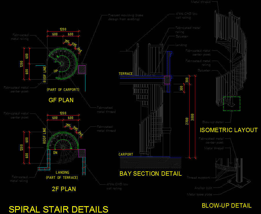 Spiral stair cad files dwg files plans and details Spiral stair details