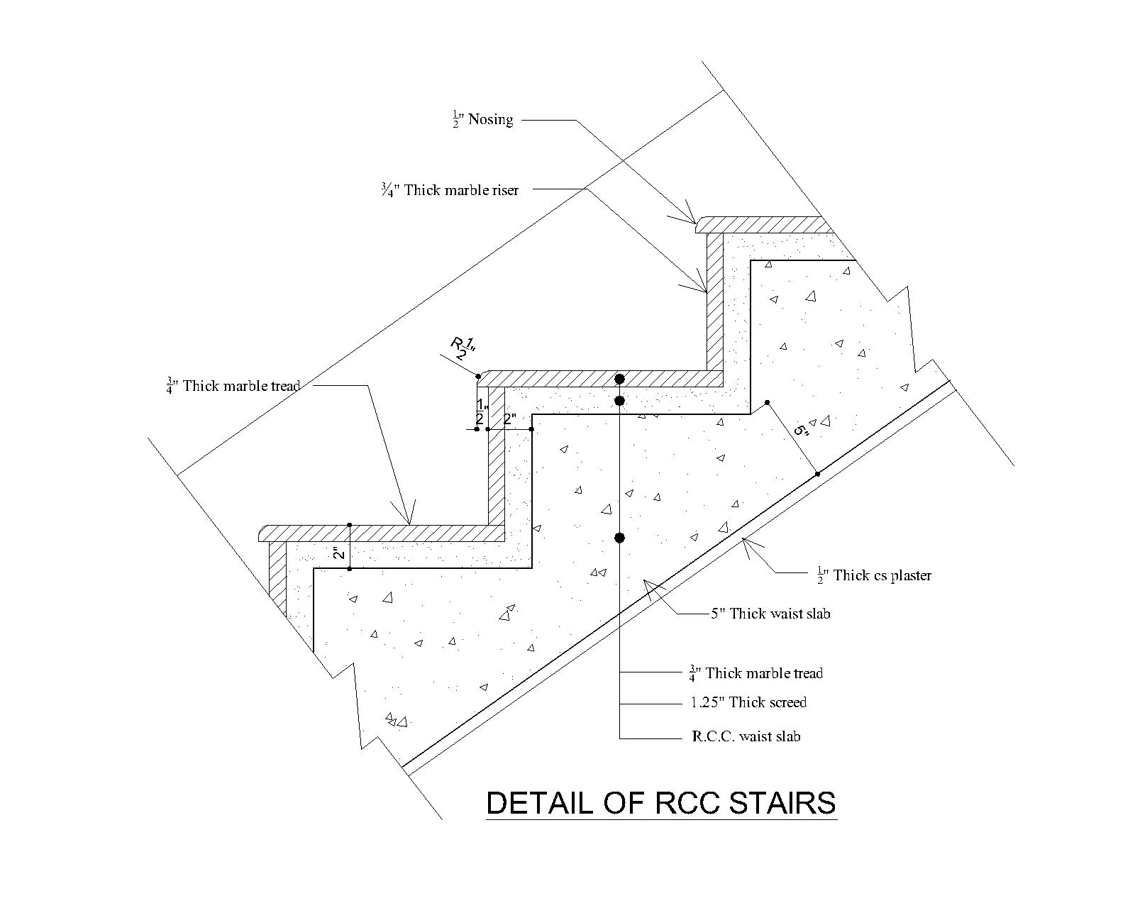 typical rcc  concrete  stair detail