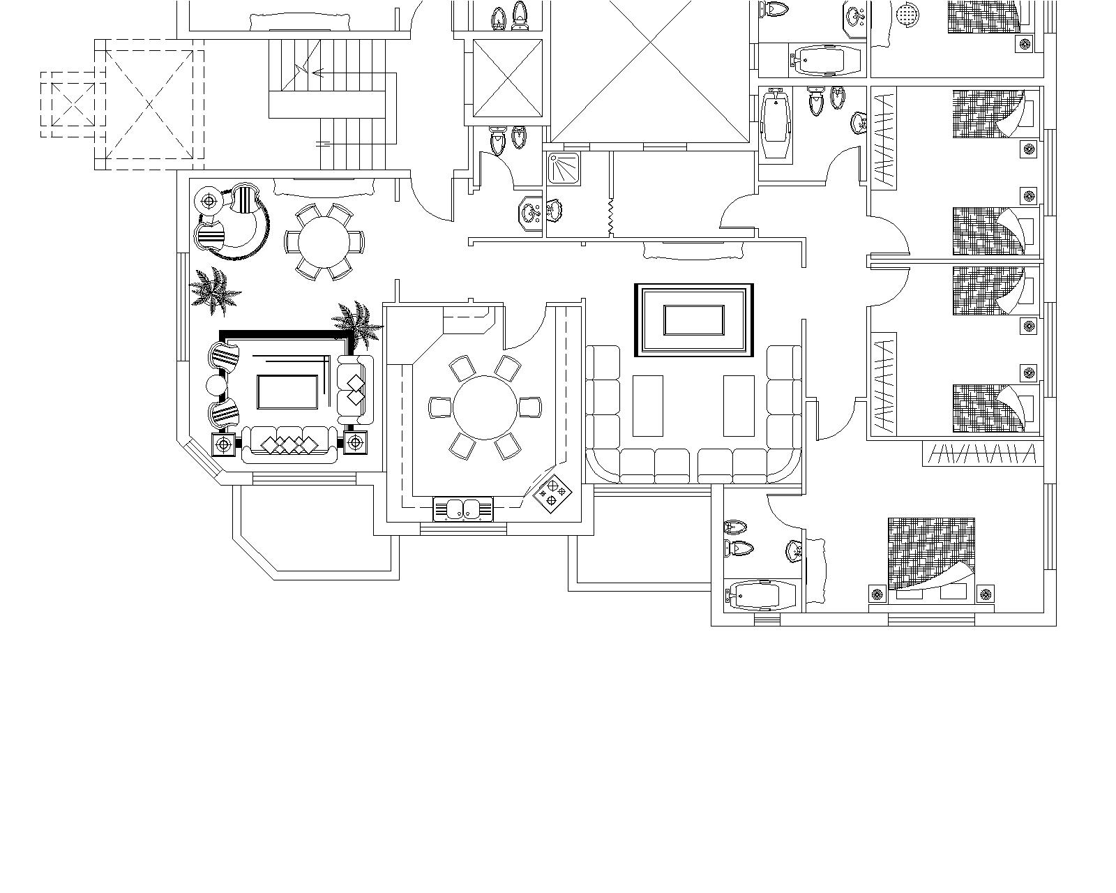 Apartments Building Typical Floor Plan Cad Files Dwg