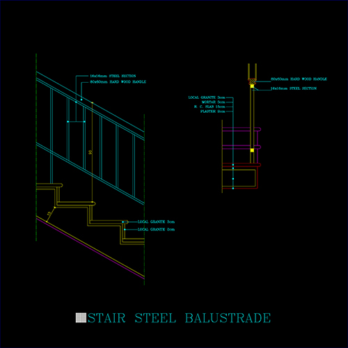 STAIR STEEL BALUSTRADE - CAD Files, DWG files, Plans and Details