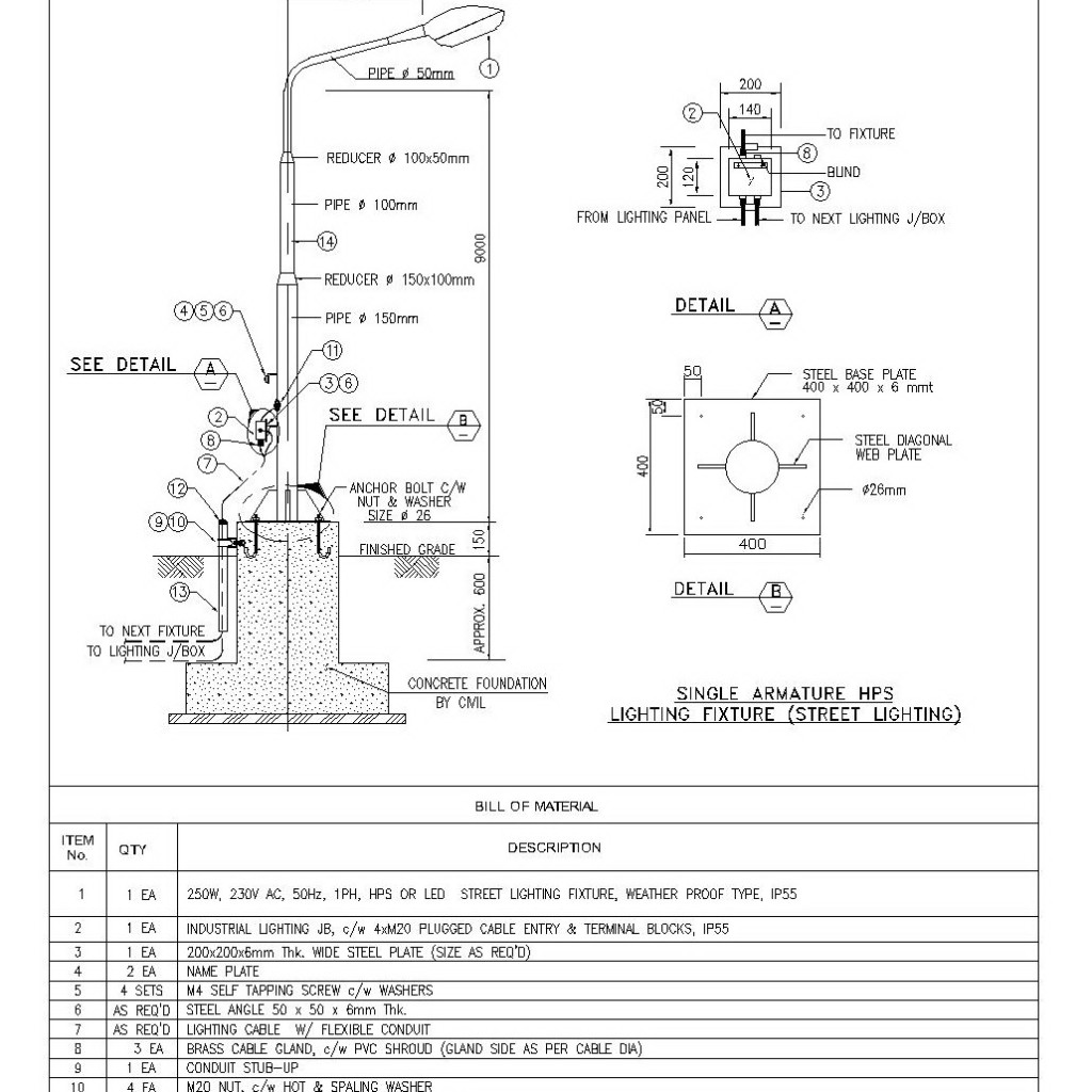 Single Armature Hps Street Lighting Cad Files Dwg Files