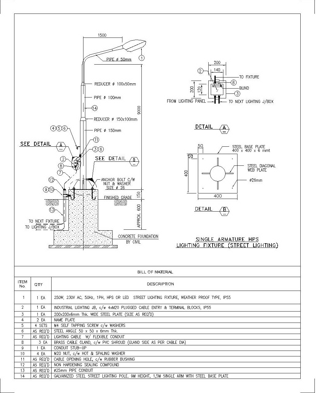 Installation details of single armature street lighting in industrial plan