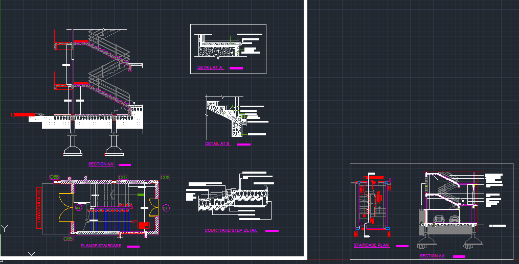 STAIRCASE DETAILS - CAD Files, DWG files, Plans and Details