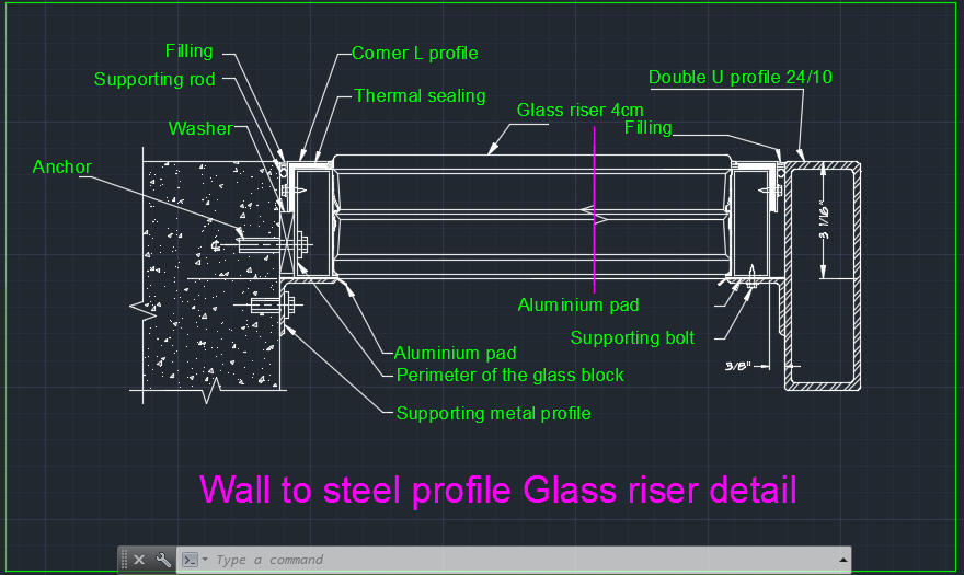 Wall To Steel Structure Glass Riser Detail Cad Files