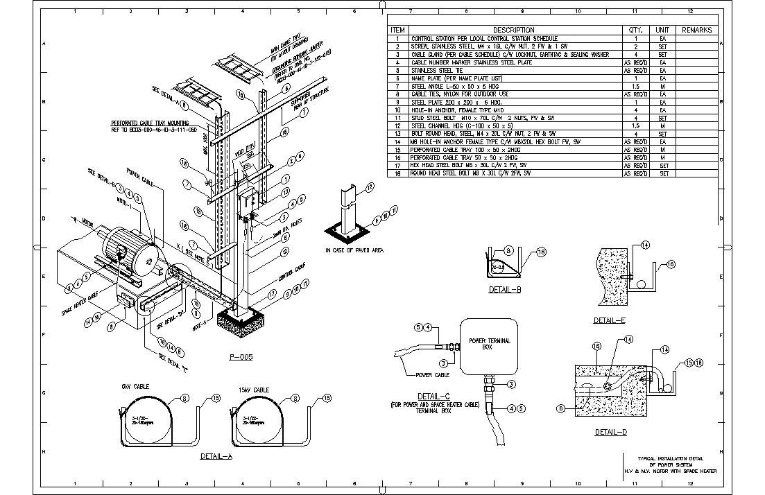 typical drawing details hv  u0026 mv motor with space heater