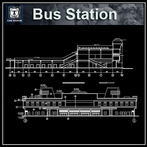 Plan Elevation Section Of Bus Stop : Bus station drawings】★ cad files dwg plans and