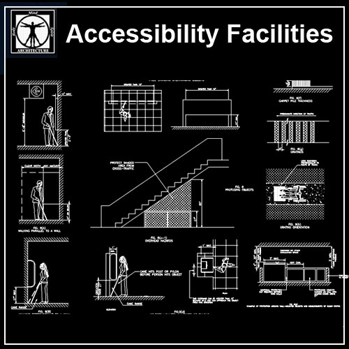 Accessibility Facilities Details V2】★ Cad Files Dwg