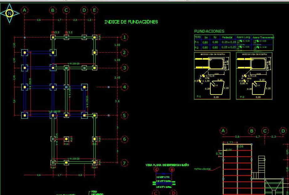 Plano De Planta De Indice De Fundaciones Para Estructura Metálica Cad Files Dwg Files Plans And Details
