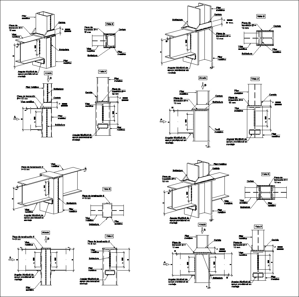 Steel structure details v4 cad files dwg files plans for Steel building plans drawings