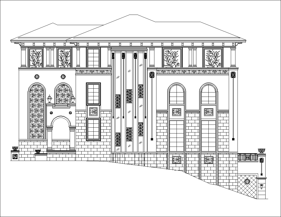 Luxury villa plans 6 cad files dwg files plans and for Villa plan dwg