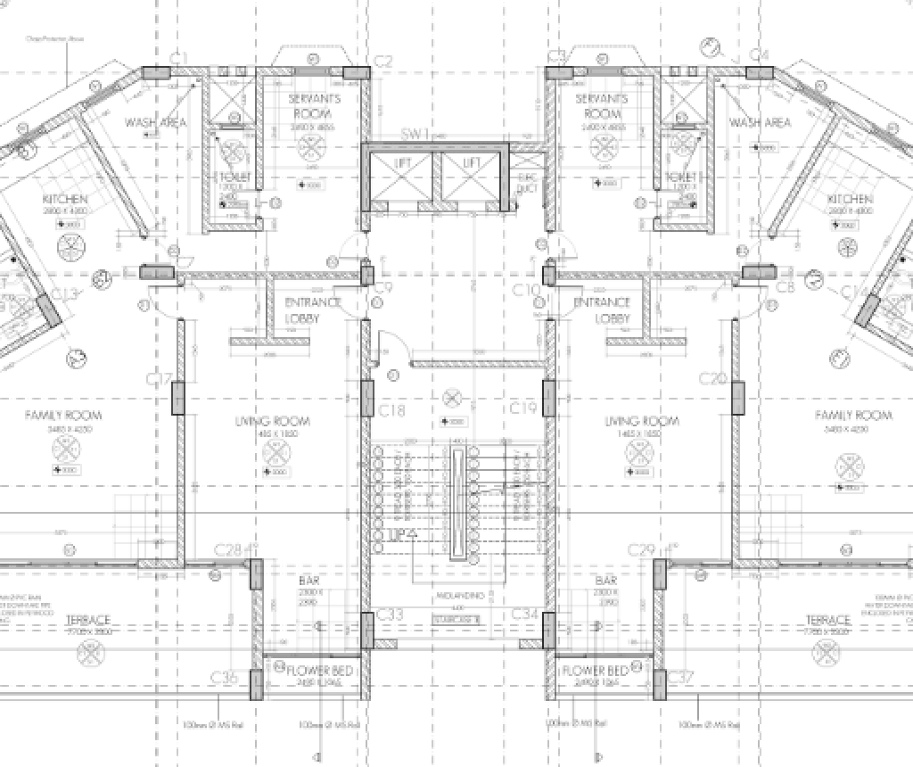Ah residential building working drawing typical for Residential building plans