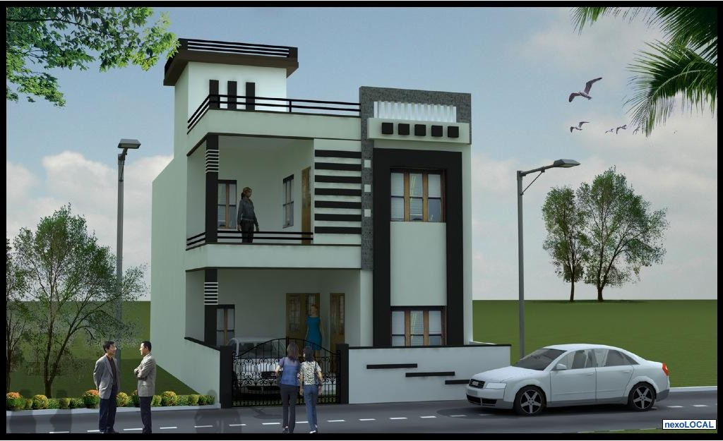 Ground Floor House Elevation Furnished : Duplex plan ground floor and first with elevation