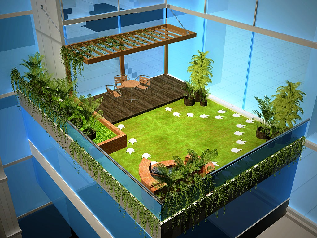 small terrace open to sky gardening - CAD Files, DWG files ...