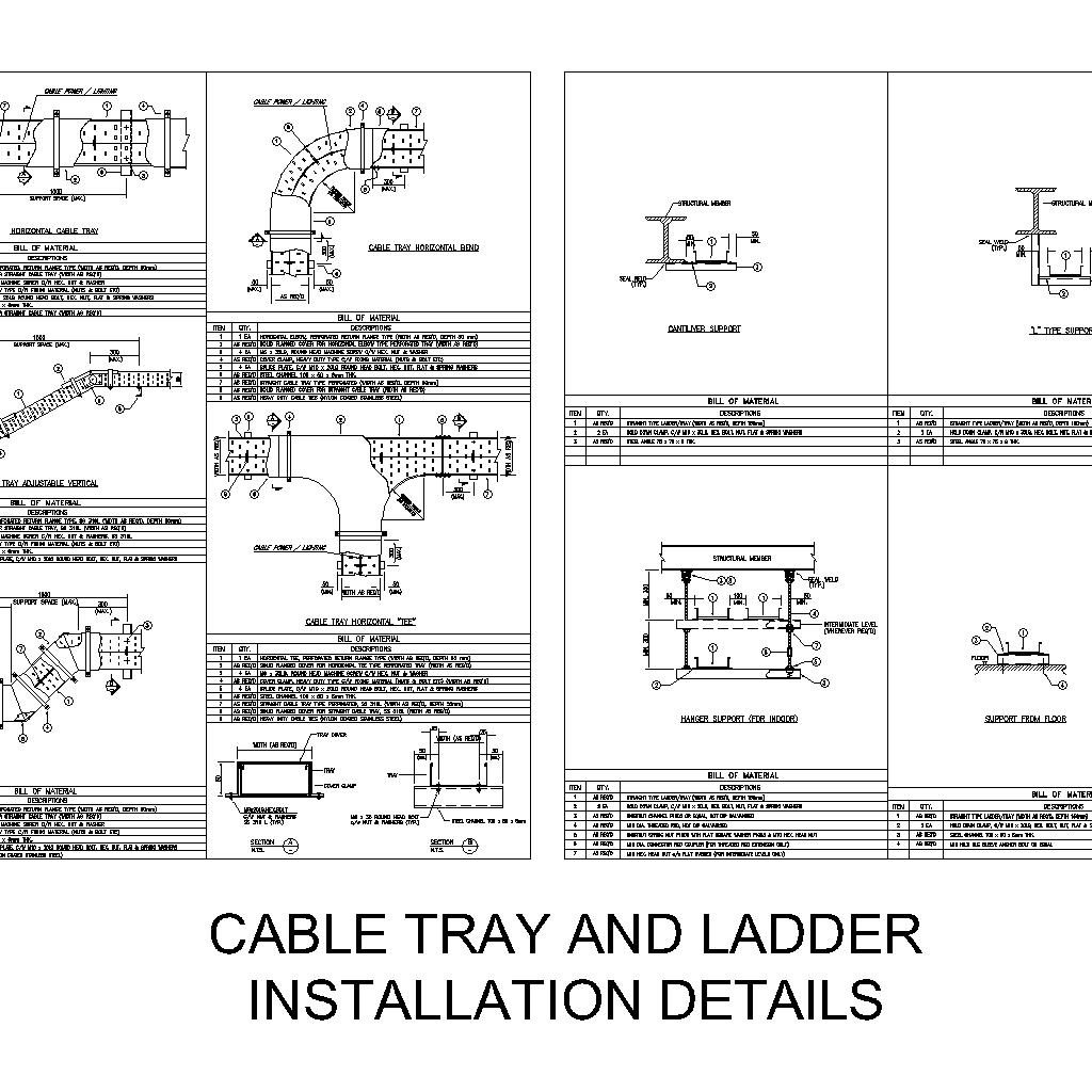 cable tray and ladder installation details cad files dwg files plans and details