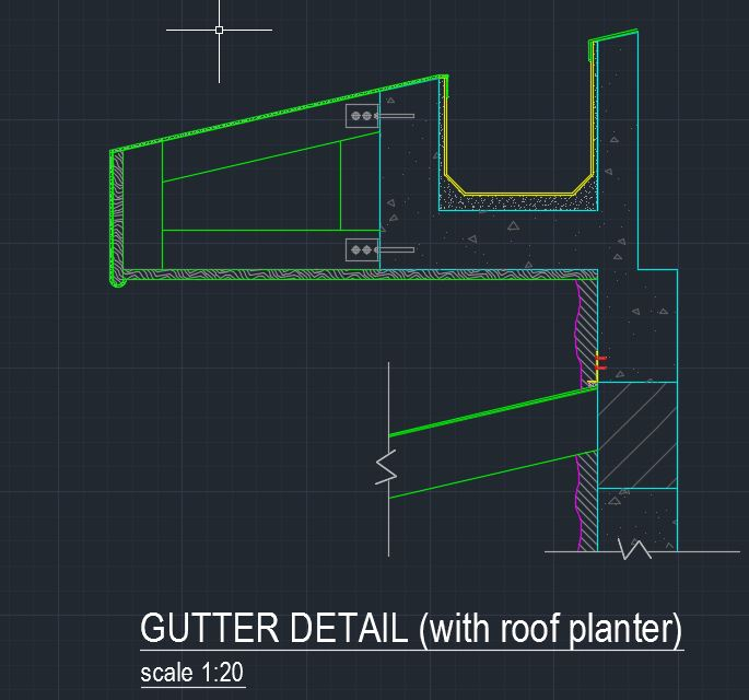Gutter Detail With Roof Planter Cad Files Dwg Files