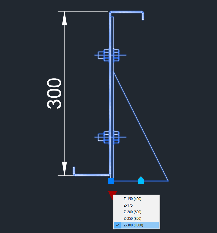 Dynamic purlin section z shape - CAD Files, DWG files, Plans and Details