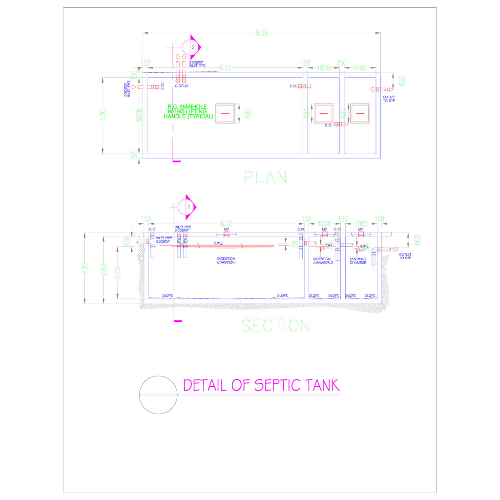 Septic tank cistern and sump pit details cad files dwg for Cistern plans