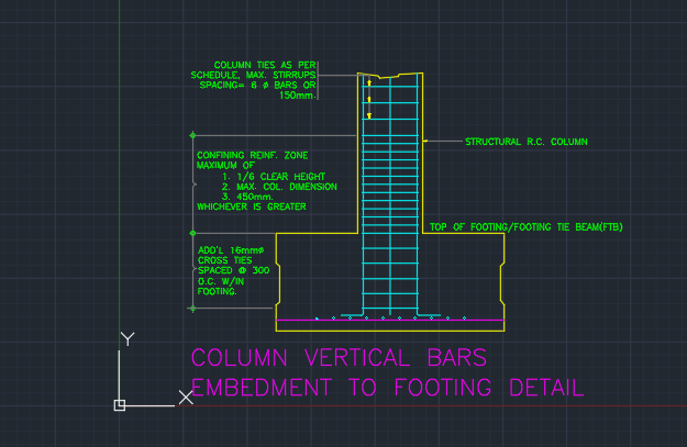 Column Vertical Bars Embedment To Footing Detail Cad