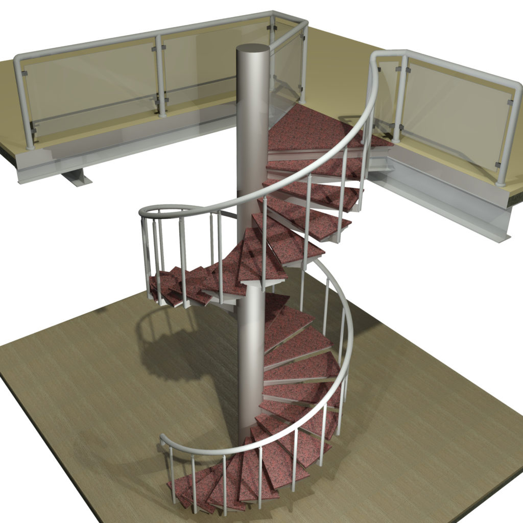 Spiral staircase 3d model cad files dwg files plans for Spiral staircase dwg