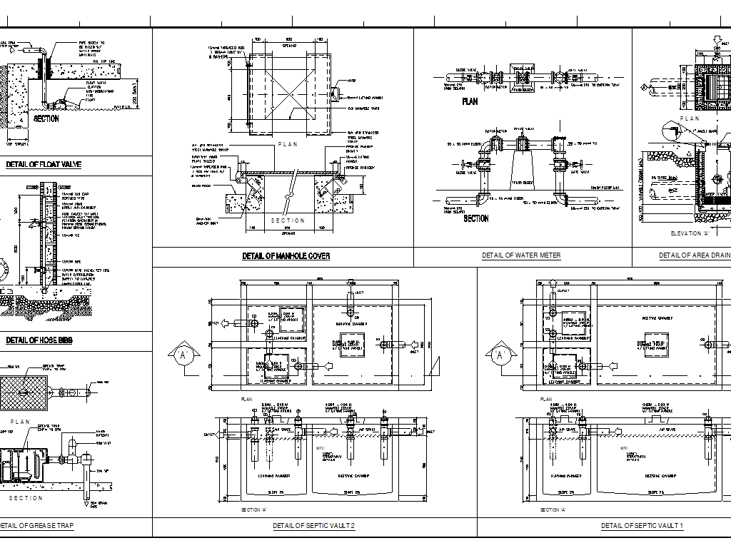 VARIOUS PLUMBING AND SANITARY DETAILS / TEMPLATE - CAD Files, DWG files,  Plans and Details