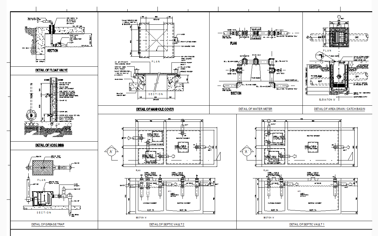 Various Plumbing And Sanitary Details Template Cad Files Dwg