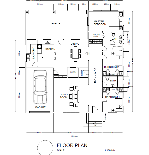 3 Bedroom Floor Plan Cad Files Dwg Files Plans And Details