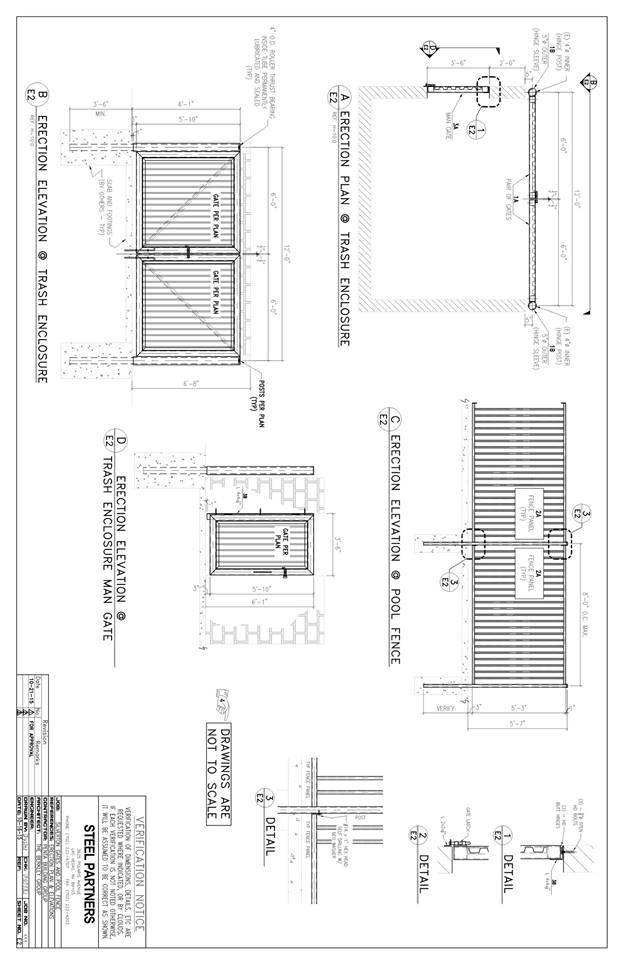 trash enclosure gates - CAD Files, DWG files, Plans and Details