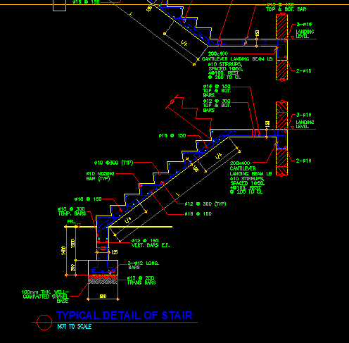Concrete Stair Structural Detail Cad Files Dwg Files