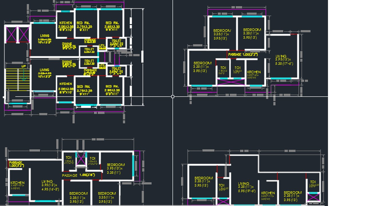 Floor Plans Of 1 2 3 Bhk Flats Cad Files Dwg Files Plans And Details