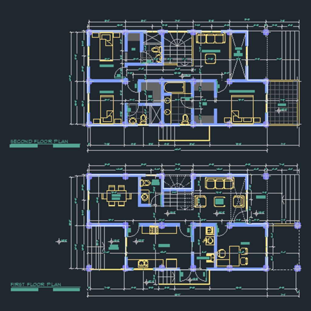1 600 Square Feet House Cad Files Dwg Files Plans And