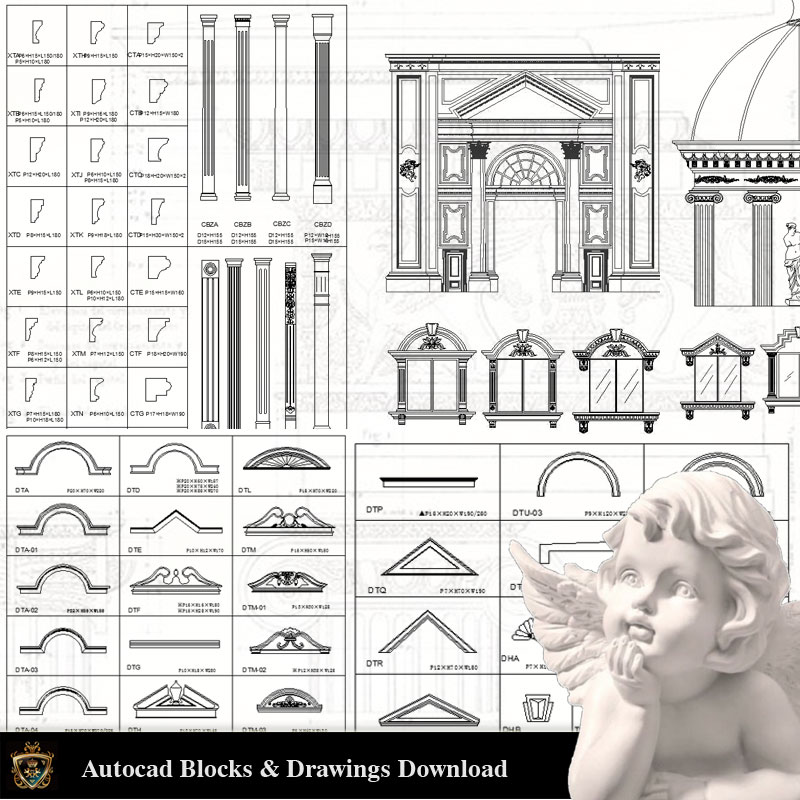 Architectural Decoration Elements CAD Blocks Bundle V 1 - CAD Files, DWG  files, Plans and Details