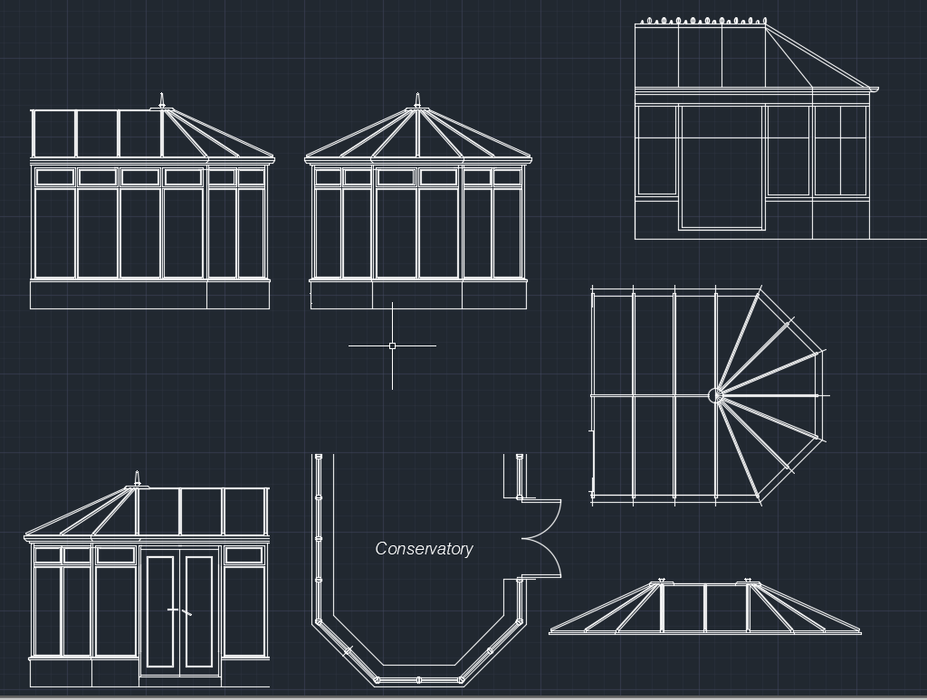 Conservatory All Elevation Floor Plan And Roof Plan Cad Files Dwg Files Plans And Details