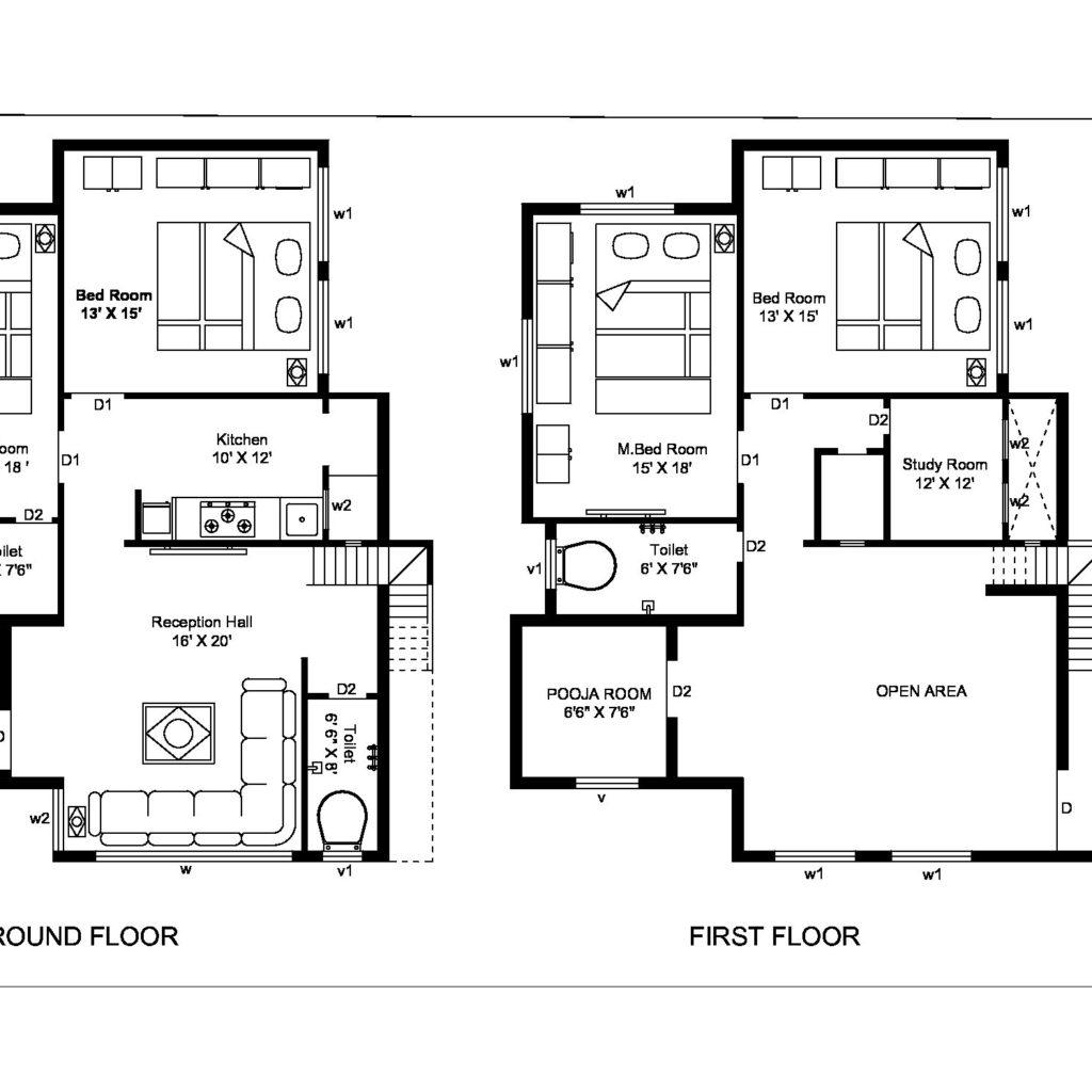 autocad 2d first floor  u0026 ground floor plan