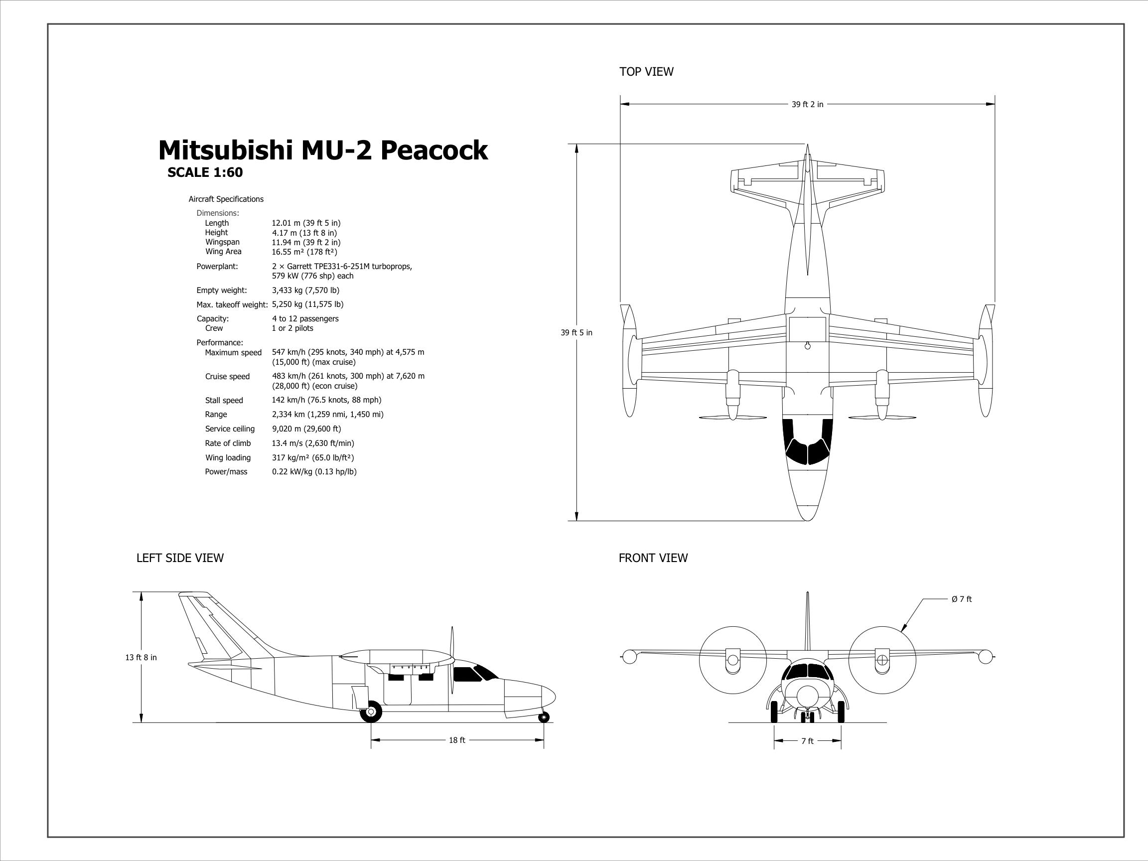 [DIAGRAM_4FR]  Mitsubishi MU-2 Peacock Aircraft - CAD Files, DWG files, Plans and Details | Mitsubishi Mu 2 Schematic |  | PlanMarketplace