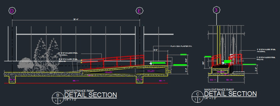 Entrance and Service Ramp Detail  - CAD Files, DWG files, Plans and Details
