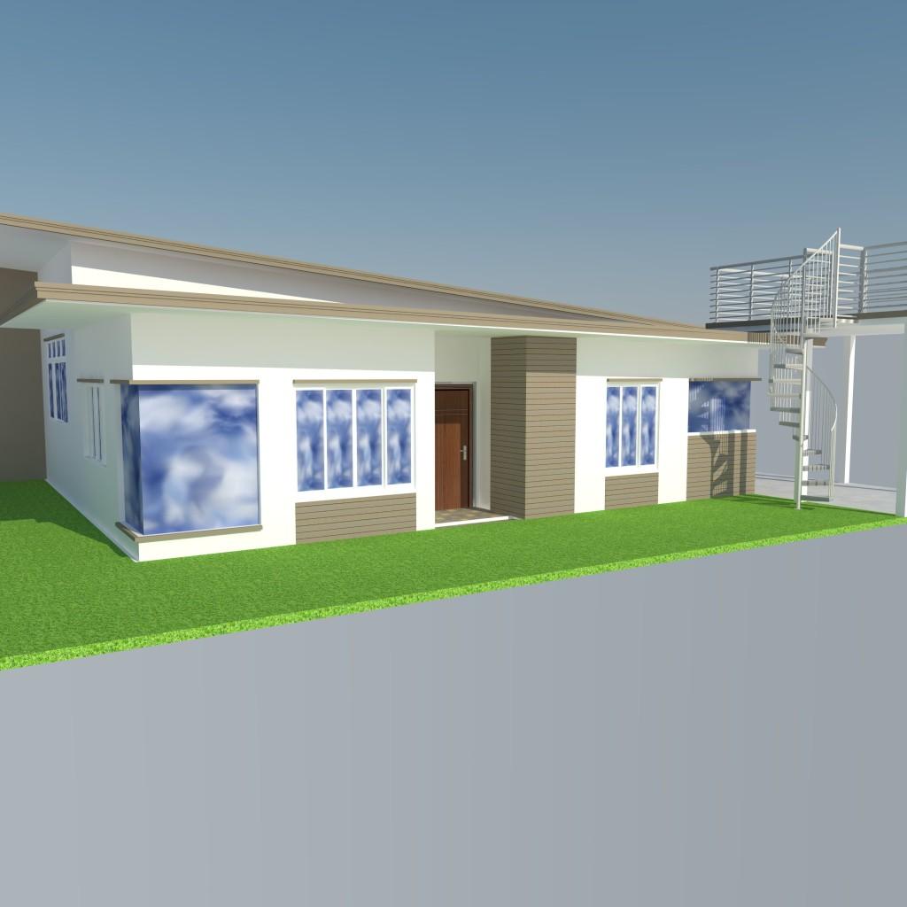 Modern Zen House Design: Bungalow Modern Zen House Design (SketchUp Model)