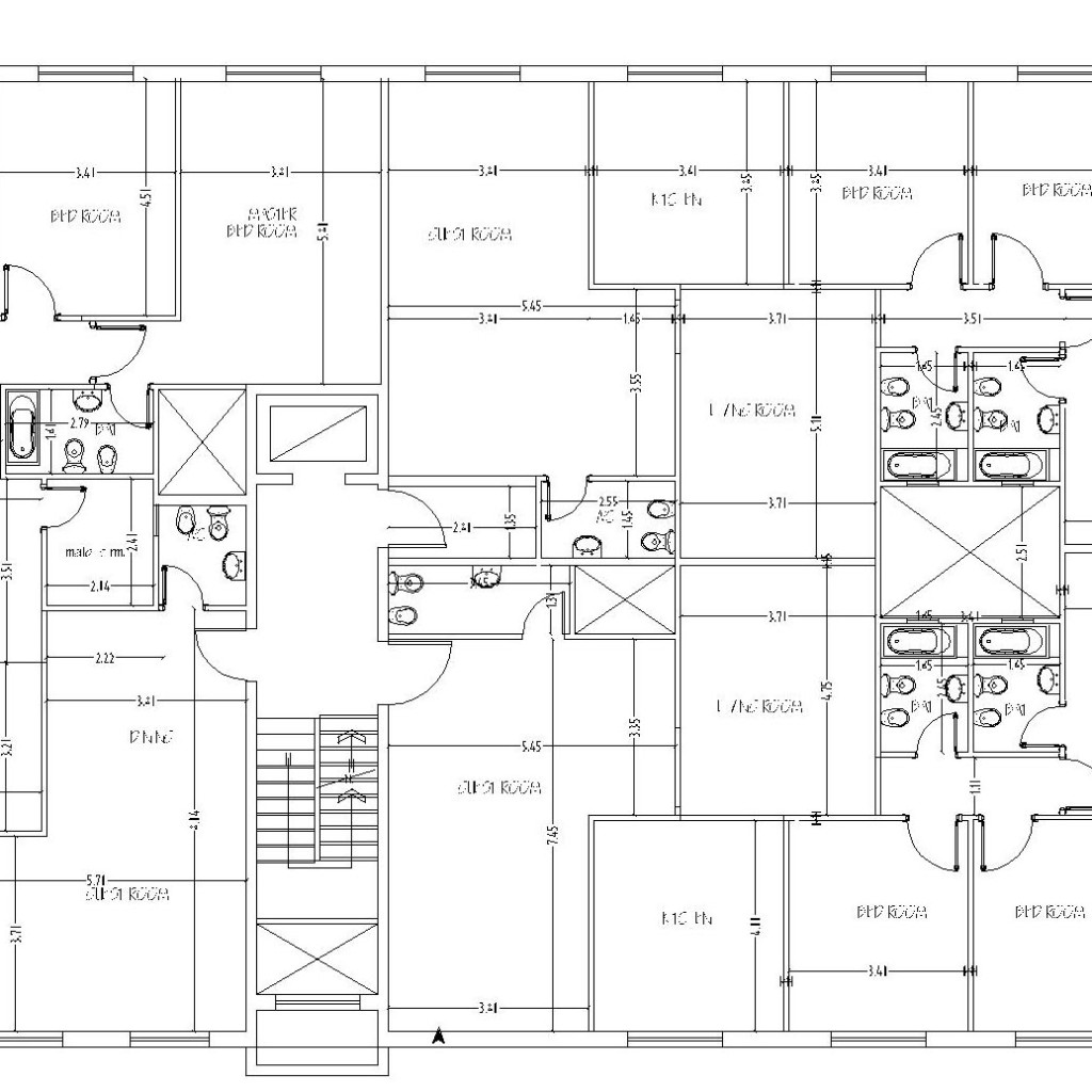 Prepossessing 60 apartment floor plans dwg inspiration for Cad house plans