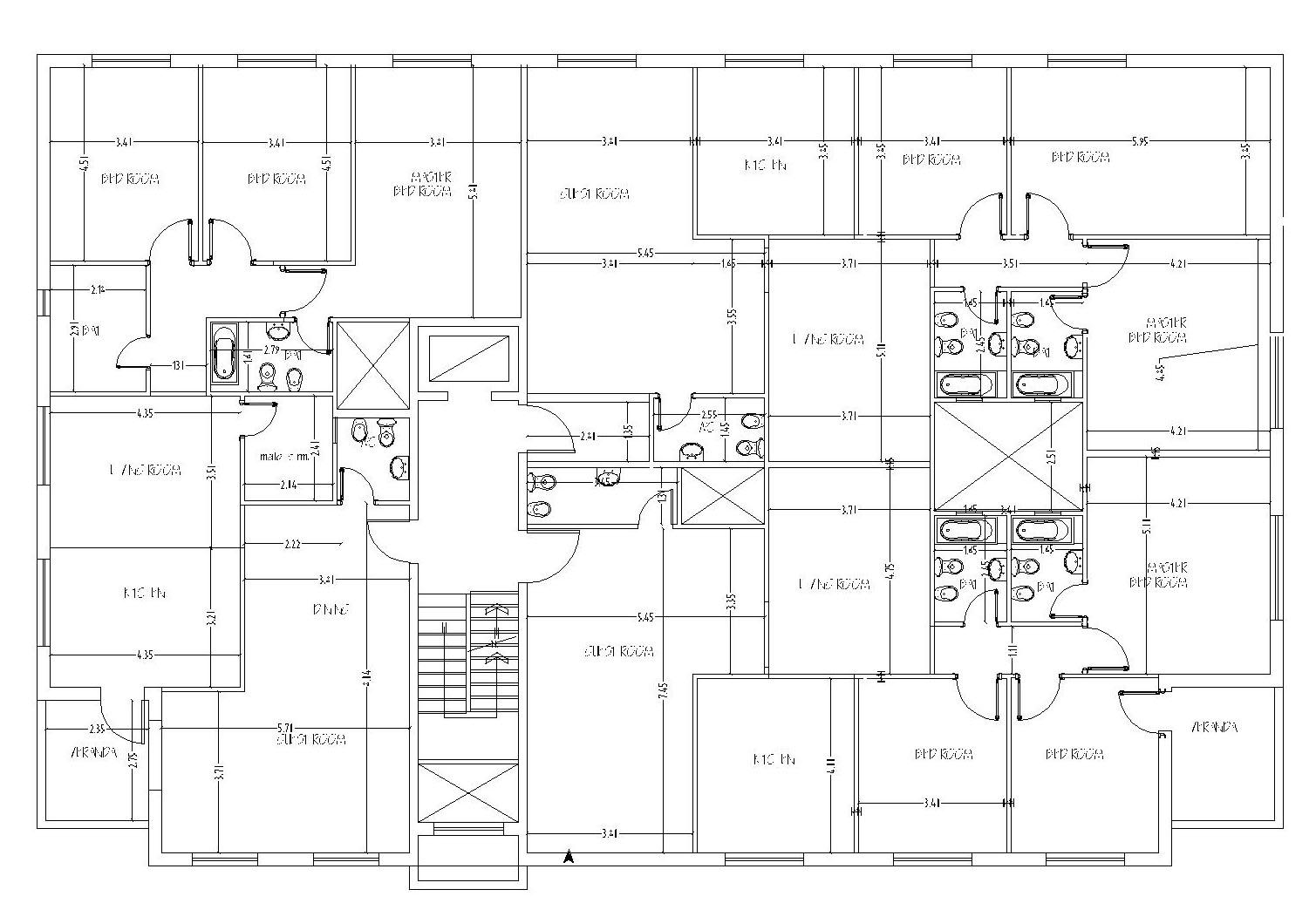 Apartment Building Design 3 Apartments Floor Cad Files Dwg