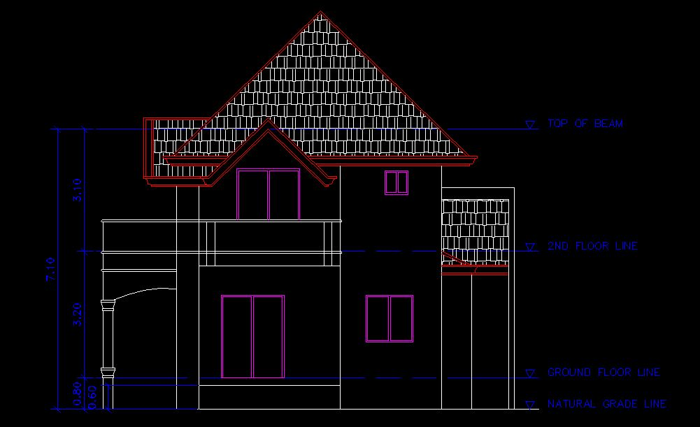 TWO - STOREY SIMPLE HOUSE - CAD Files, DWG files, Plans and Details