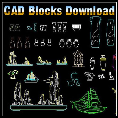 Decoration elements block s bundle v2 cad files dwg 2d design free download