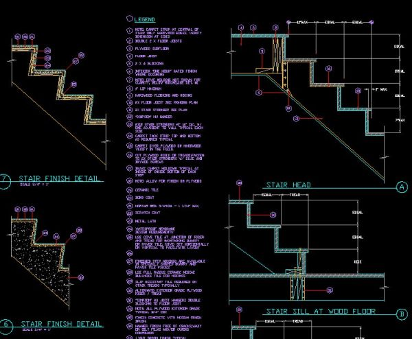 Plan Elevation Label : Stair details】★ cad files dwg plans and details
