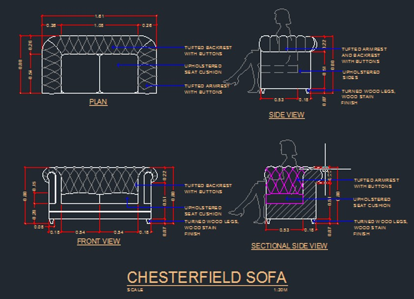 Chesterfield Sofa CAD Files, DWG files, Plans and Details
