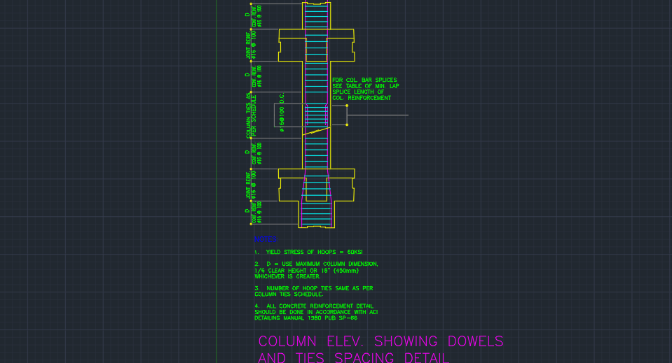 Column Elevation Showing Dowels And Ties Spacing Detail