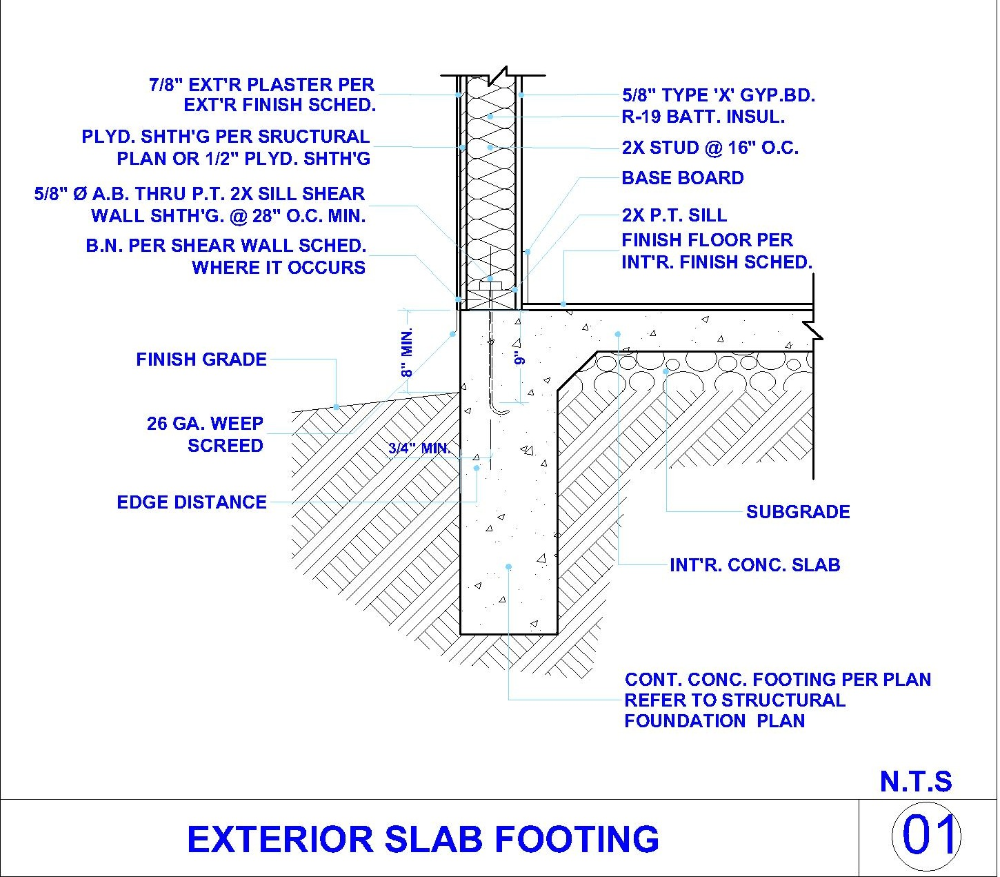 Exterior Concret Slab Footing And Exterior Wall Cad